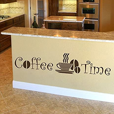 Amazon.com: Wall Decals Quote Phrase Coffee Time Cup Coffee Beans ...