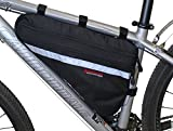 Bushwhacker Fargo Black - Large Triangle Bicycle Frame Bag w/ Reflective Trim Cycling Pack Bike Under Seat Top Tube Bag Front Rear Accessories Crossbar