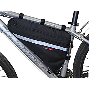 Bushwhacker Fargo Black Large Triangle Bicycle Frame Bag w/Reflective Trim Cycling Pack Bike Under Seat Top Tube Bag Front Rear Accessories Crossbar