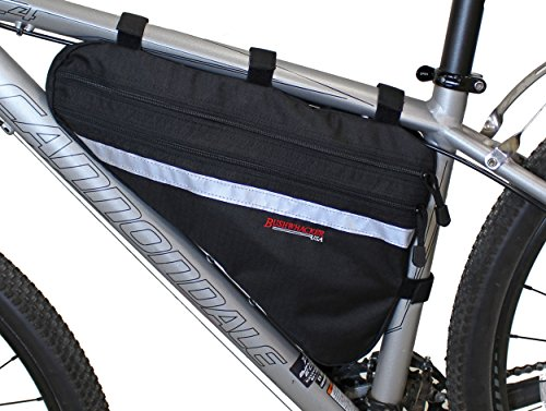 Bushwhacker Fargo Black Large Triangle Bicycle Frame Bag w/ Reflective Trim Cycling Pack Bike Under Seat Top Tube Bag Front Rear Accessories Crossbar