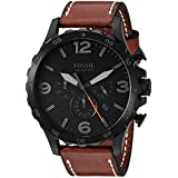 Fossil Nate Black Dial Men's Chronograph Luggage Leather Watch JR1524