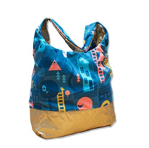 PACMAT , Damen Tote-Tasche gold blau