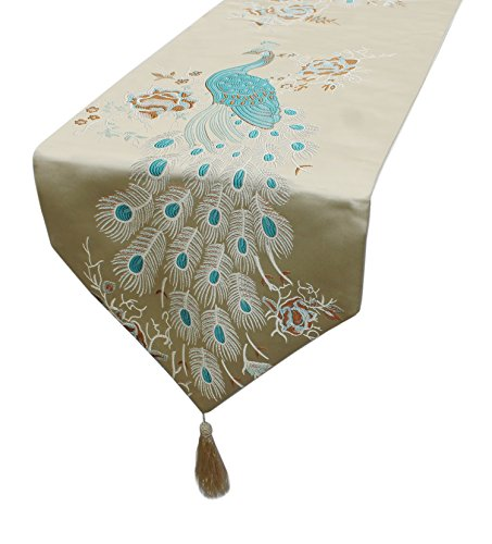 MAGILONA Tablecover Home Decorative Satin Smooth Embroidered Peacock