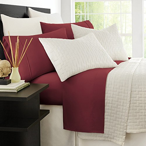 Zen Bamboo Luxury 1500 Series Bed Sheets - Eco-Friendly, Hypoallergenic and Wrinkle Resistant Rayon Derived from Bamboo - 4-Piece - Queen - Burgundy