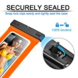Waterproof Phone Case, Floating Phone Pouch Dry Bag Case with Armband for Sealine Boating Swimming for iPhone 7 7 Plus, 6 6S, 6S Plus, SE 5S, Galaxy Note 8, S7 Edge(Orange) …