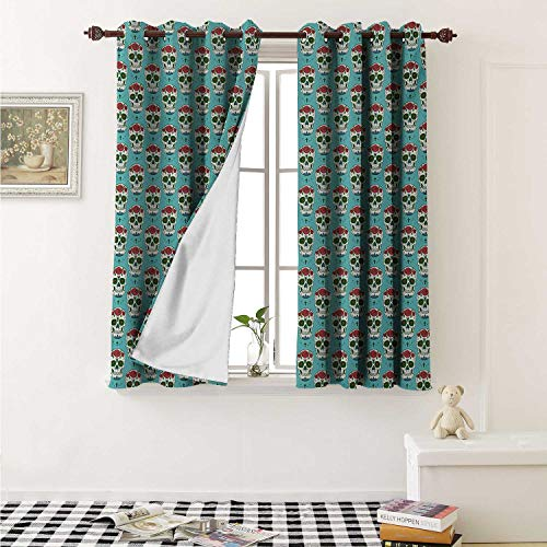 shenglv Skull Blackout Draperies for Bedroom Cross and Roses on Ornate Skull Pattern South American Culture Vintage Style Curtains Kitchen Valance W72 x L63 Inch Seafoam Ruby Green