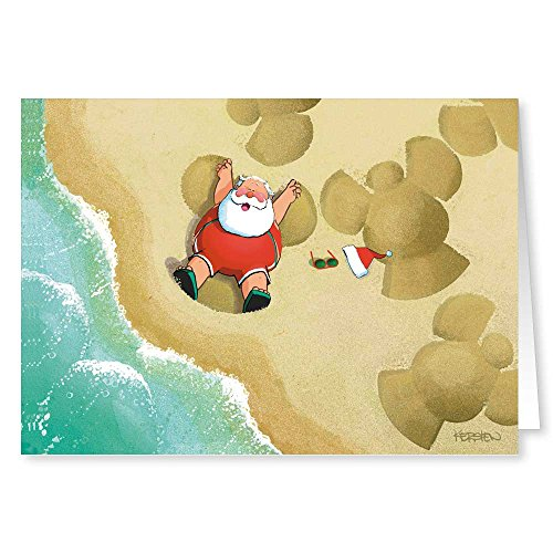Sand Angels Christmas Cards - Beach 18 Cards and Envelopes