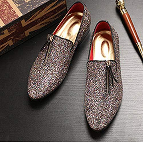 Oxford Vestir Hombres Plata Zapatos Brillos Con Punta De Para Mocasines Estrecha zFwCqx7