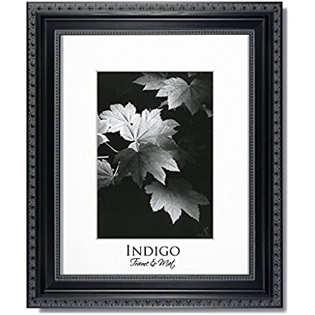 Set Of 12 8x10 Ornate Heritage Black Photo Frames With Clear Glass Easel Backs And A Single Bright White Mats For 5x7