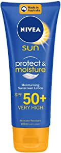 NIVEA SUN Protect & Moisturising 4 Hour Water Resistant Sunscreen Lotion. Made in Australia with Vitamin E & Panthenol, SPF50+ 100ml