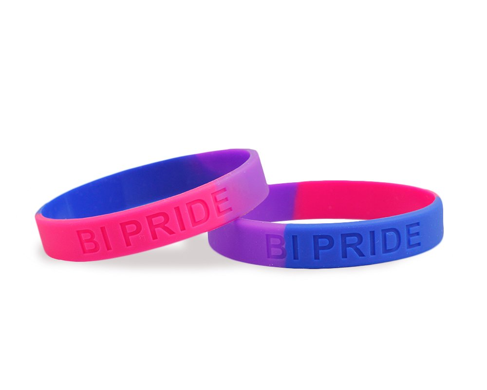 50 Pack Bisexual Pride Silicone Bracelets - Support LGBTQ Cause (50 Bracelets in a Bag) by Fundraising For A Cause