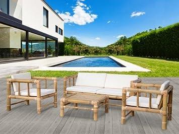 Salon de jardin BOHOL en bambou : 1 canapé 2 places, 2 fauteuils et ...