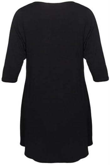 New Womens Plus Size Uneven Dip Hem Long Tunic Tops (M-3X)