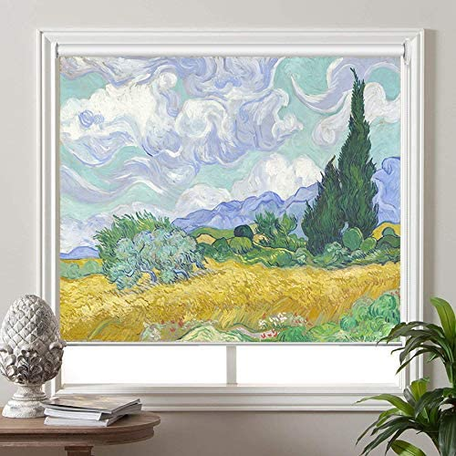 PASSENGER PIGEON Blackout Window Shades, Wheat Field with Cypresses, by Vincent Van Goah, Premium UV Protection Custom Roller Blinds, 32 W x 52 L