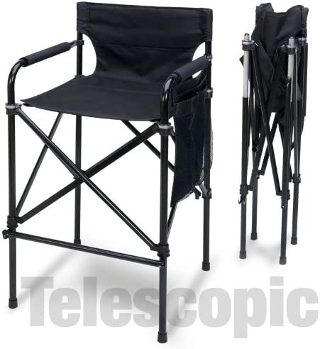 Quad Style Tall Aluminum Directors Chair – Black