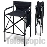 ''Quad Style'' Tall Aluminum Directors Chair - Black