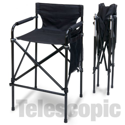 Quad Style Tall Aluminum Directors Chair - Black by Everywhere Chair