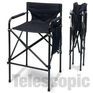 Amazing Quad Style Tall Aluminum Directors Chair Black Evergreenethics Interior Chair Design Evergreenethicsorg