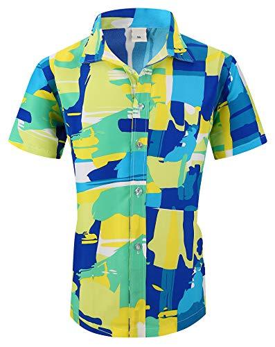 - XTAPAN Men Short Sleeve Shirt-Flower Leaf Palm Tree Print Camp Button Down Hawaiian Shirt US XL=Asian 5XL Green 1308