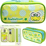 Keroppi Embroidery Iron Double Layers Pencil Pen Case Makeup Bag Organizer