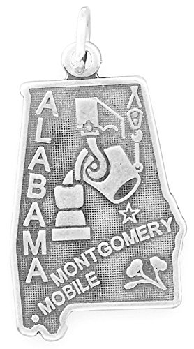 Sterling Silver Alabama State Charm (Oxidized Sterling Silver Charm, State of Alabama, 1 inch)