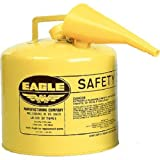 "Eagle UI-50-FSY Yellow Galvanized Steel Type I Diesel Safety Can with Funnel, 5 gallon Capacity, 13.5"" Height, 12.5"" Diameter"