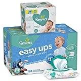 Pampers Bundle - Easy Ups Training Pants Pull On Disposable Diapers for Boys, Size 5 (3T-4T), 124 Count, ONE MONTH SUPPLY with Baby Wipes Sensitive 6X Pop-Top Packs, 336 Count: more info