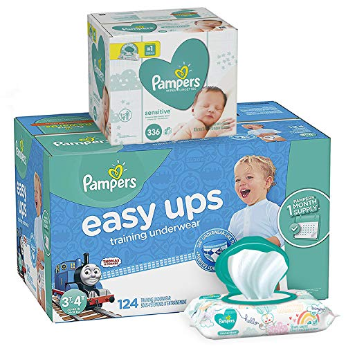 Pampers Bundle - Easy Ups Training Pants Pull On Disposable Diapers for Boys, Size 5 (3T-4T), 124 Count, ONE MONTH SUPPLY with Baby Wipes Sensitive 6X Pop-Top Packs, 336 Count