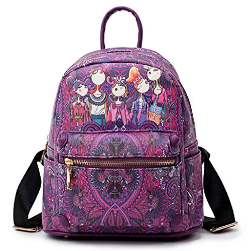 Women Forest Girls Pattern Large-Capacity Backpack Sutdent Shoulder School Bag (Purple) -