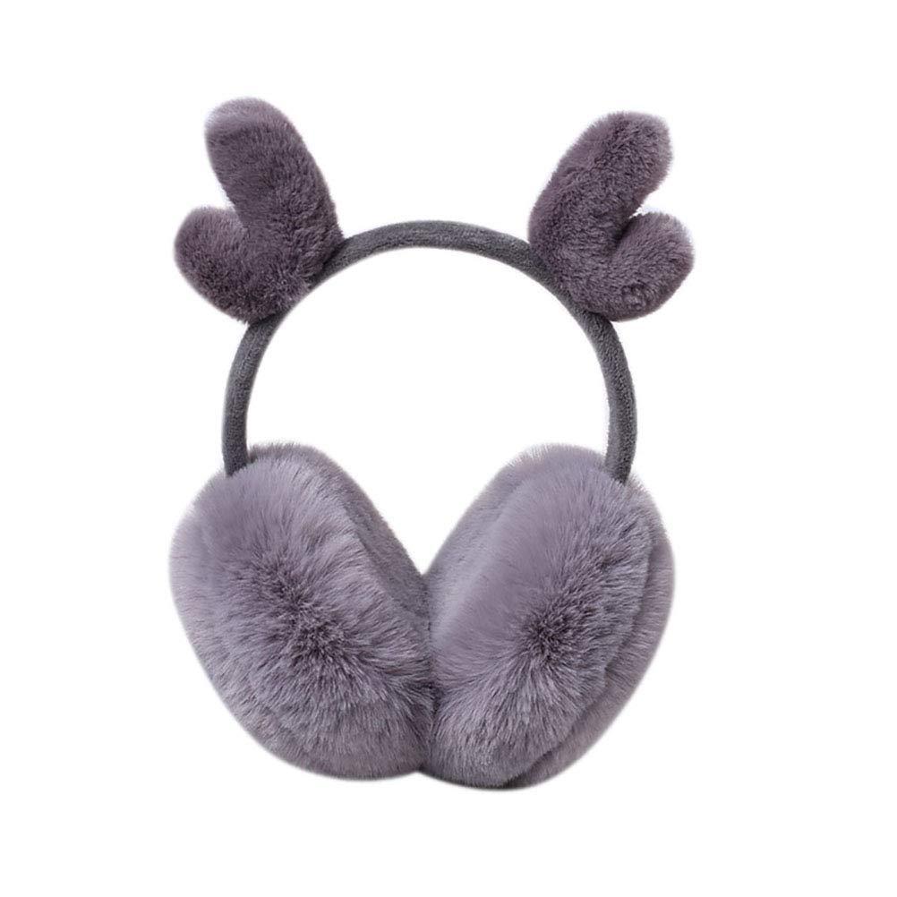 NICOLA Womens Christmas Deer Earmuffs Winter Earmuffs Adjustable Ear Warmers