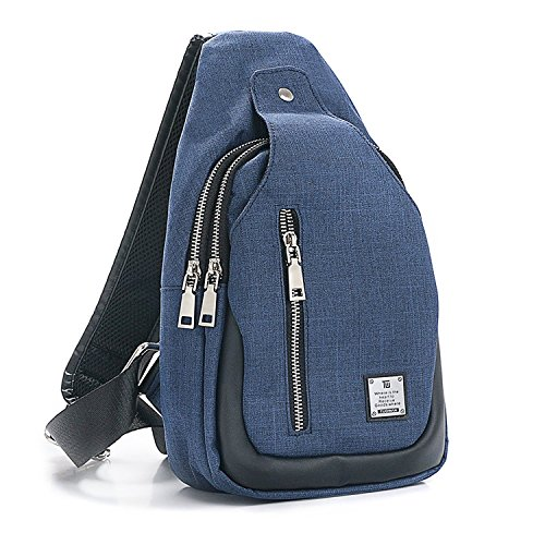 Sling Bag Chest Shoulder Backpack Crossbody Bags for Men Women Travel Outdoors (Large blue) by TUOWAN (Image #7)