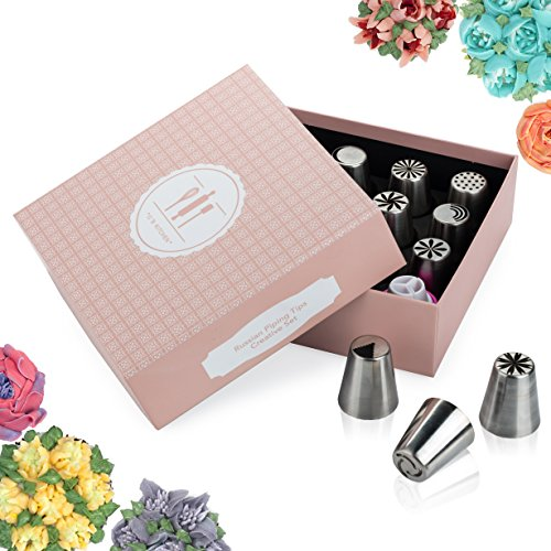 Russian piping tips set for icing nozzles pastry decoration-PREMIUM stainless steel 25 frosting flowers tip kit | DELUXE cake decorating w/ bag-Bonus GIFT PACKAGE,Buttercream EBook,online videos >>