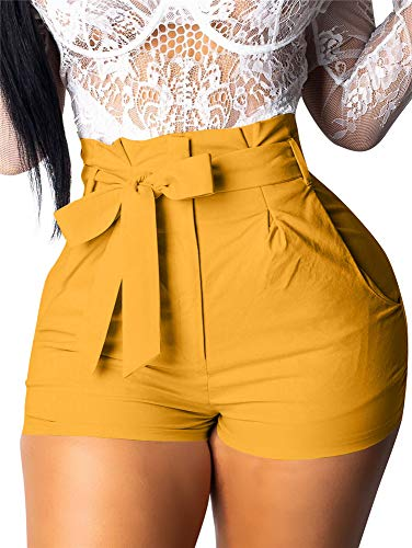 GOBLES Womens Summer Casual Shorts High Waist Ruffle Bow Tie Shorts Ginger (Ginger Tie)
