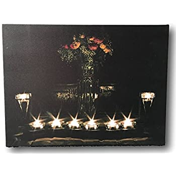 Amazon wall art with led lights canvas print lighted candle canvas wall art led lighted canvas with flowers and candles lighted canvas print with onoff switch battery operated stretched canvas print mozeypictures Image collections