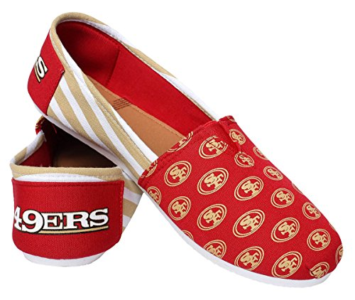 NFL Womens Football Ladies Canvas Logo Slip-On Summer Shoes - Pick Team (San Francisco 49ers - Stripe, Large)