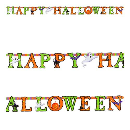 8ft Happy Halloween Party Spooky Jointed Cutout Letter Banner Decoration