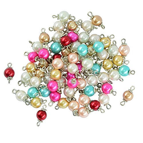 MonkeyJack 50 Pieces Assorted Color Eye Pin Metal Loop Glass Pearl Beads Fancy Daisy Alloy Cap Loose Beads - 1