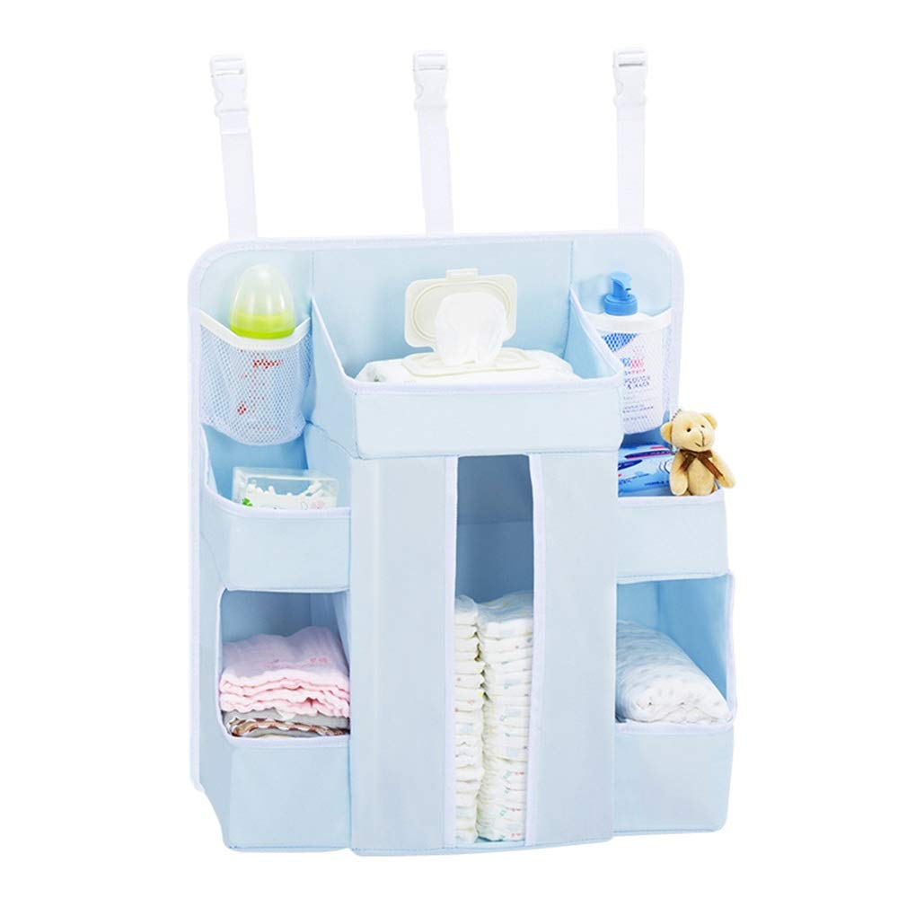 Gralet Bed Hanging Organizer Hanging Diaper Caddy,Diaper Organizer for Crib, Storage for Baby Nursery, Hang On Crib, Changing Table, Playard Or Furniture for Baby Cot Bunk Bed by Gralet