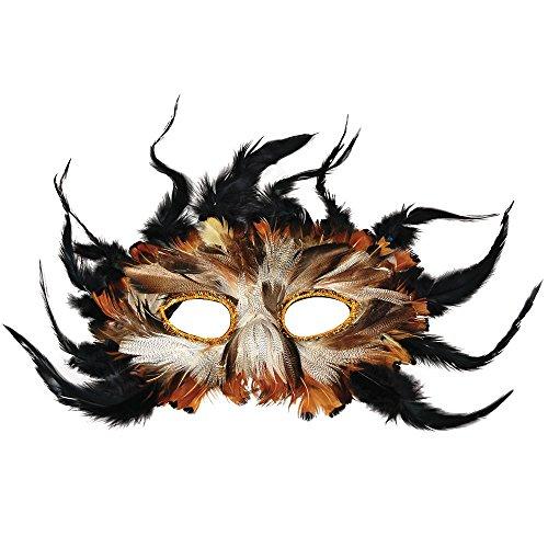 Bristol Novelty EM010 Owl Feather Eye Mask, Multi-Colour,