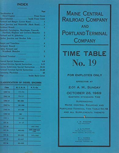 Maine Central Railroad Co and Portland Terminal Co Employee Time Table No. 19 October 26, 1969