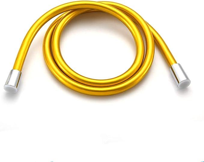 LKSIING Manguera De Ducha Alta Presi/ón Flexible Ahorro De Agua Lat/ón Macizo Antideflagrante Durable Flexo De Ducha Universal Cromada PVC,Gold,1m