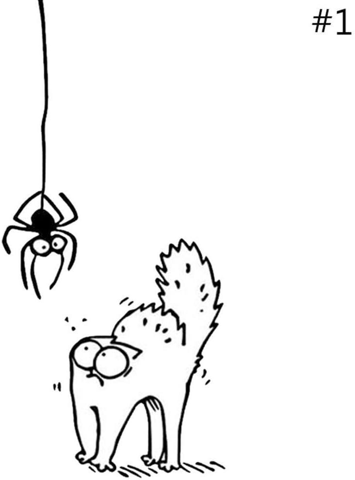 BleuMoo 2Pcs Scared Spider Cat Car Decal Vinyl Sticker Wall Window White