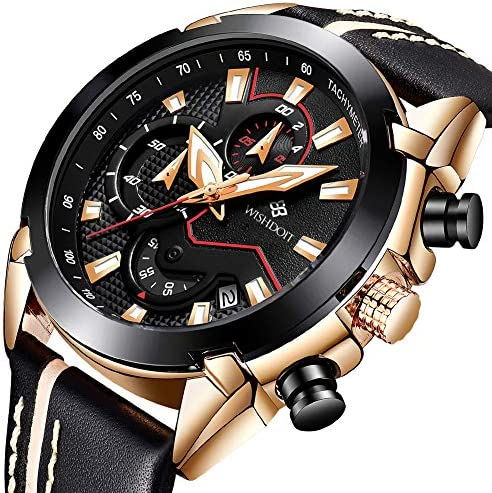 Men s Watches Fashion Analog Quartz Watch Date Business Chronograph Dress Luxury Brand Black Leather Wristwatch Gents Sport Waterproof Wristwatch