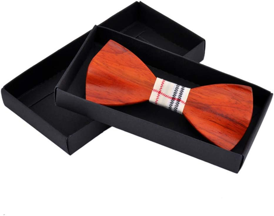 HANXIAODONG Handmade Wood Bow Tie Wooden Bowtie Mens Bow Tie for Anniversary Birthday Wedding Groomsmen Vintage Style Apparel Color : Red Brown