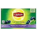 Lipton Green Tea Bags, Purple Acai Blueberry 20 Count (Pack of 6)