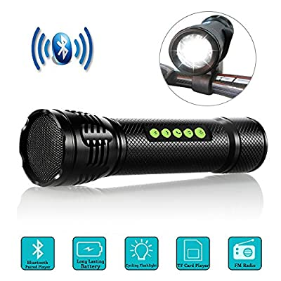 Bike Light with Bluetooth Speaker - Elephant Outdoor 5 Functions (Wireless Speaker, LED Flashlight, MP3 Player, FM Radio, Emergency Alarm) Aluminum Bicycle Light with 3.5W HD Stereo and Mount Holder
