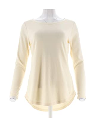 cec38a9a127 Isaac Mizrahi Essentials Stylish Shirttail Hem Knit Tunic Cream 1X New  A266662 at Amazon Women's Clothing store: