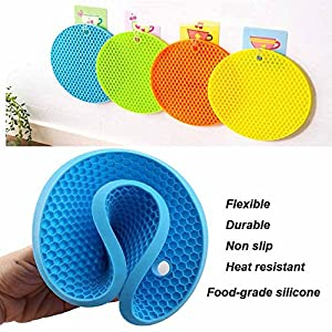 Starmox multipurpose pot holders coaster trivet mat flexible jar opener heat resistant pads,Non slip,flexible,durable,dishwasher safe silicone kitchen tool