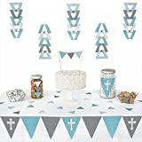 Little Miracle Boy Blue & Gray Cross - Baptism Triangle Party Decoration Kit - 72 Pieces