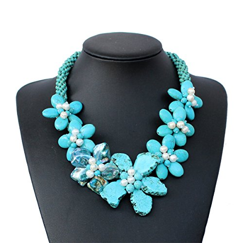 Turquoise Tablets Necklace Pearl Shell Necklace ()